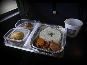 Hot meal onboard a Cruz del Sur bus