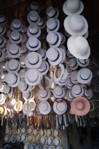 Panama hats hanging in a shop in Cuenca, Ecuador
