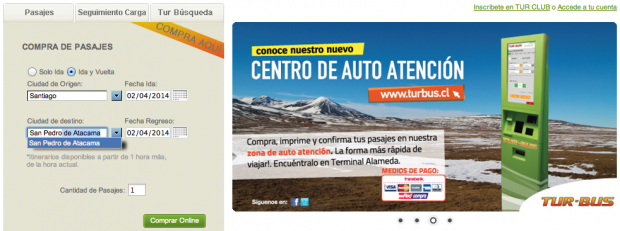 Booking buses in Chile